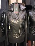 Черная кожаная куртка с поясом, фото 9