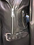 Черная кожаная куртка с поясом, фото 10