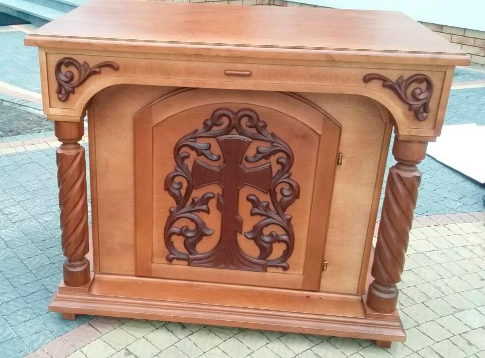 Великий панихидный стіл з дерева під лак