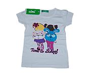 Детская футболка для девочки белая с вышивкой (с рисунком девочки с рюкзаками) Турция