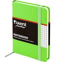 Записная книга блокнот Axent 95x140мм 96л клетка,тв. обл.,салатовый Partner 8301-04-A