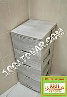 Комод пластиковый, с рисунком Деревое кремовое, 4 ящика, Алеана