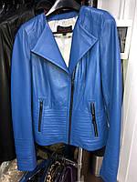 Синяя кожаная куртка Турция, фото 1