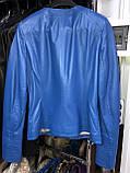 Синяя кожаная куртка Турция, фото 3