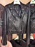 Черная брендовая косуха из кожи, фото 5