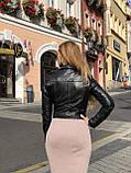 Черная брендовая косуха из кожи, фото 4