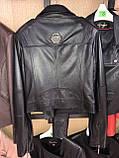 Черная брендовая косуха из кожи, фото 7