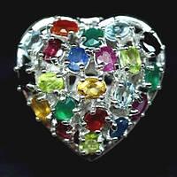 Кольцо-Сердце с натуральным Агатом, Аметистом, Перидотом (Хризолитами), Рубинами, Сапфирами, Сердоликом, Топаз