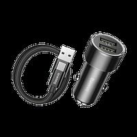 Автомобильное зарядное 2USB + кабель Baseus Small Screw 3.4A Dual-USB Type-C Set Black (TZXLD-B01)