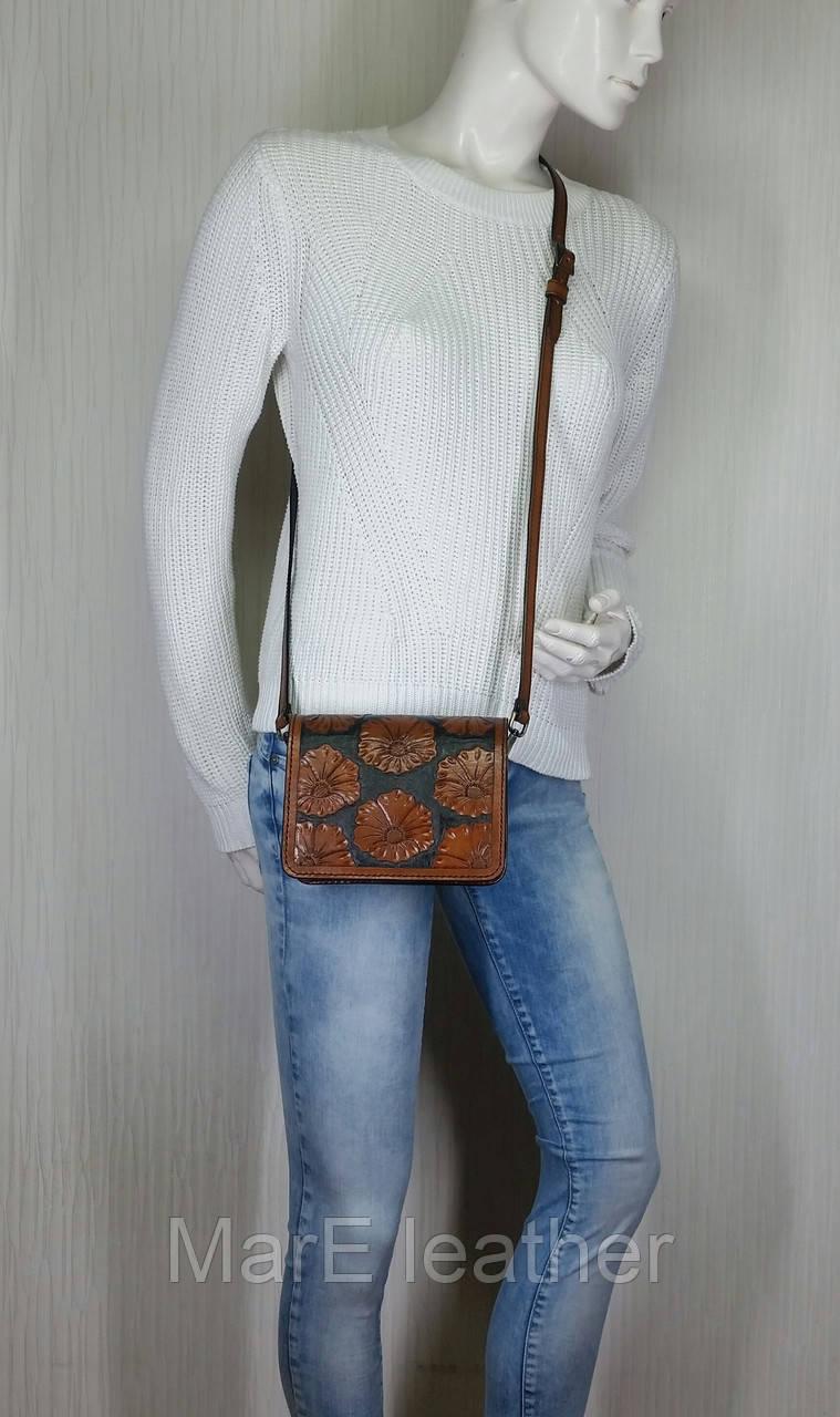 50468471f20b ... Маленькая женская сумочка ручной работы из натуральной кожи с цветочным  тисненым рисунком, фото 5