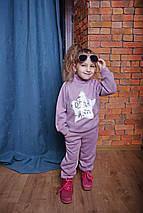Детский прогулочный костюм из трикотажа для девочки сиреневый, фото 2