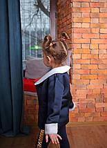 Стильный пиджак на девочку из неопрена темно-синий, фото 3