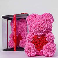 Мишка из роз в прозрачной подарочной коробке, 40 см розовый с красным сердцем. Сделан в Украине - 141152