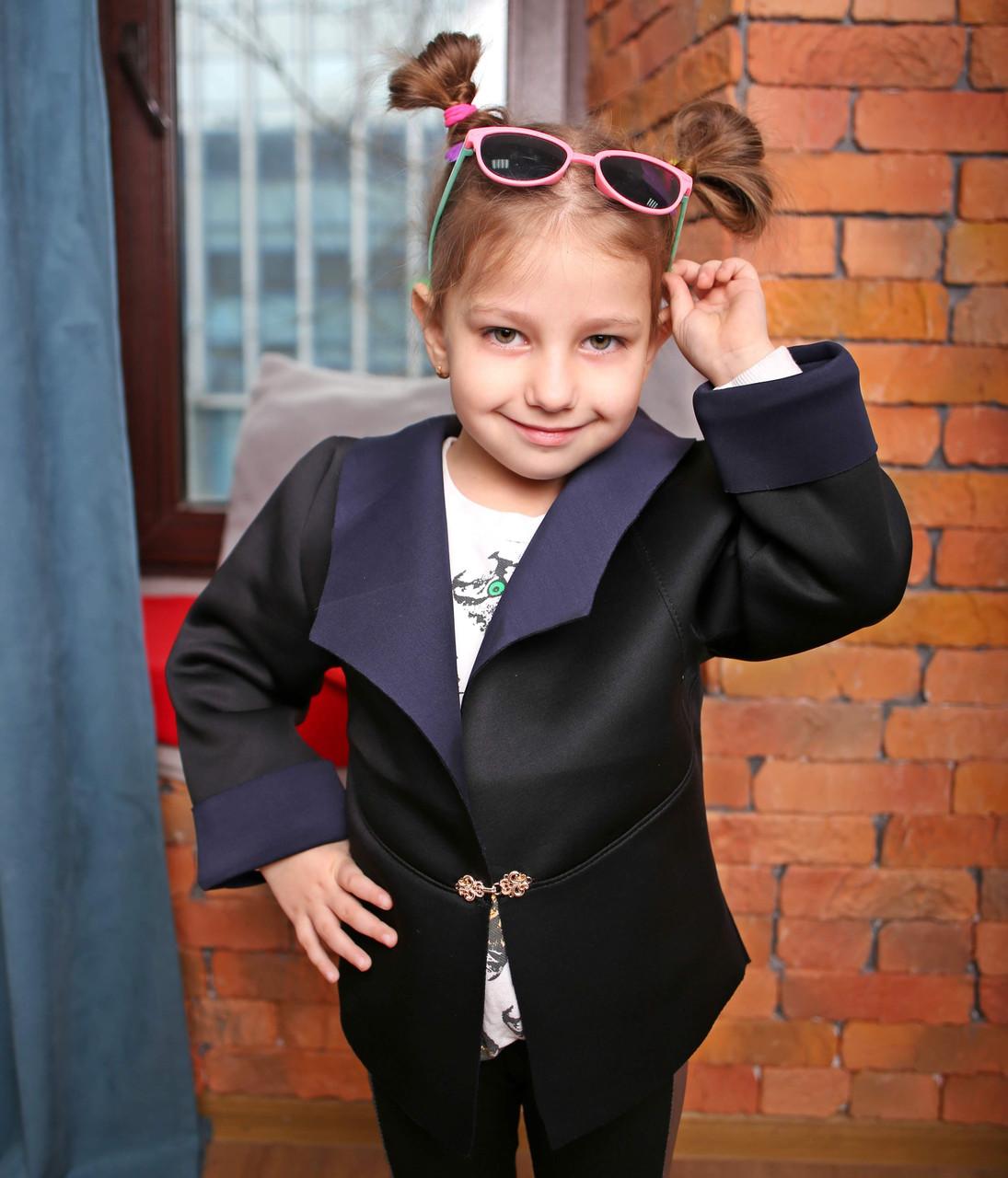 Черный детский кардиган-пиджак из неопрена стильный