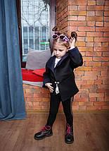 Черный детский кардиган-пиджак из неопрена стильный, фото 2