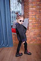 Черный детский кардиган-пиджак из неопрена стильный, фото 3