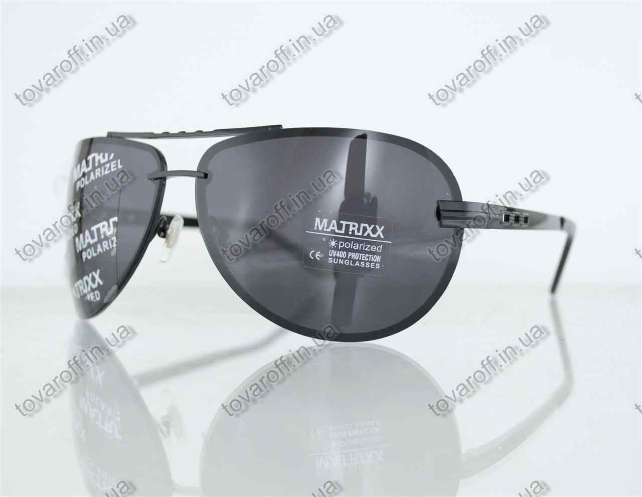 Оптом очки унисекс сонцезащитные поляризационные Авиатор (Aviator) - Черные - P08212