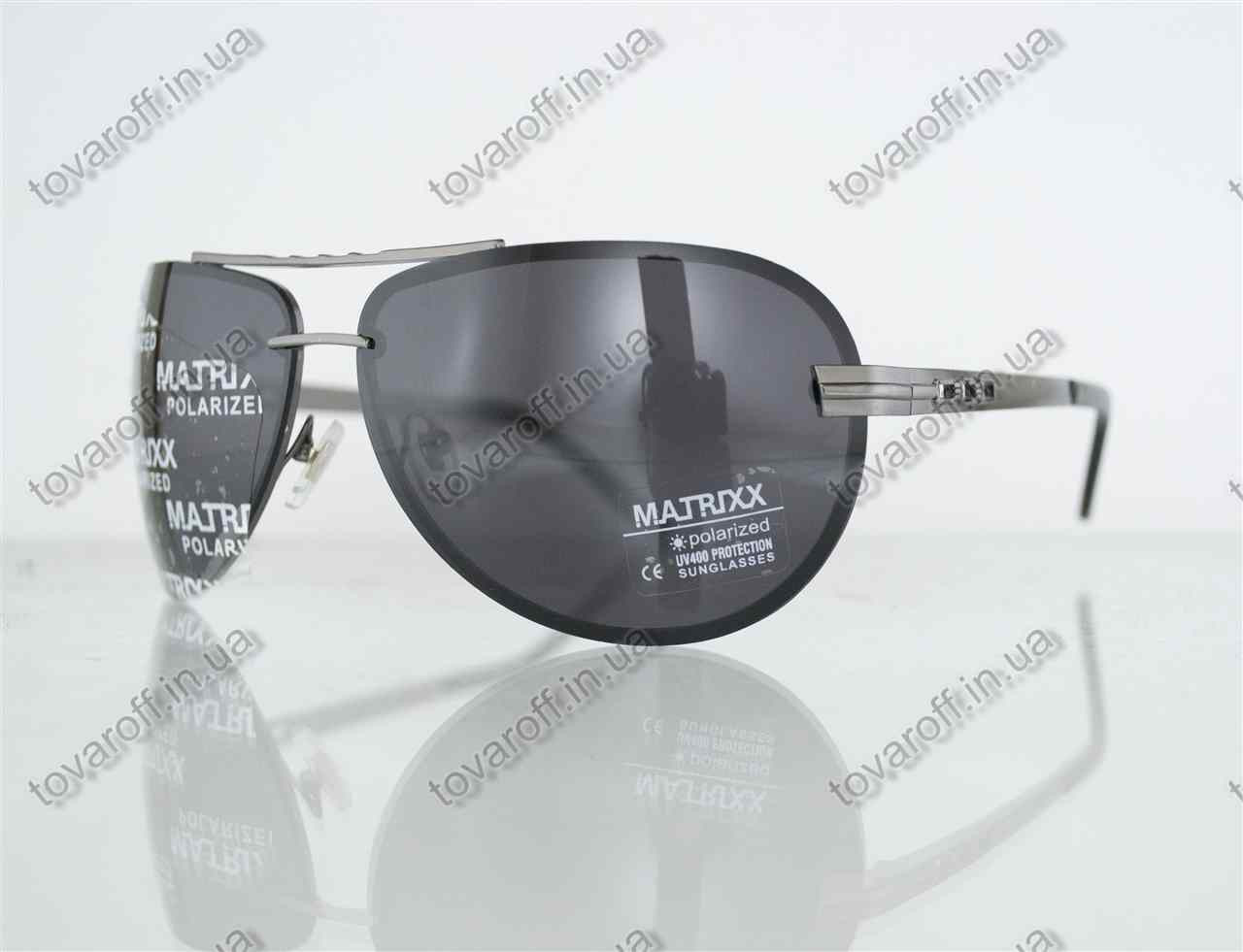 Оптом очки унисекс сонцезащитные поляризационные Авиатор (Aviator) - Стальные - P08212