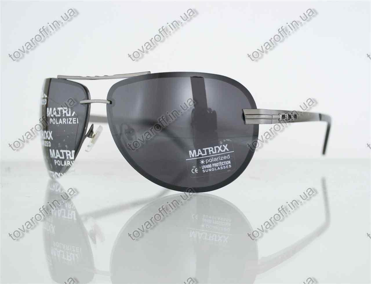Оптом очки унисекс сонцезащитные поляризационные Авиатор (Aviator) - Стальные - P08212, фото 1