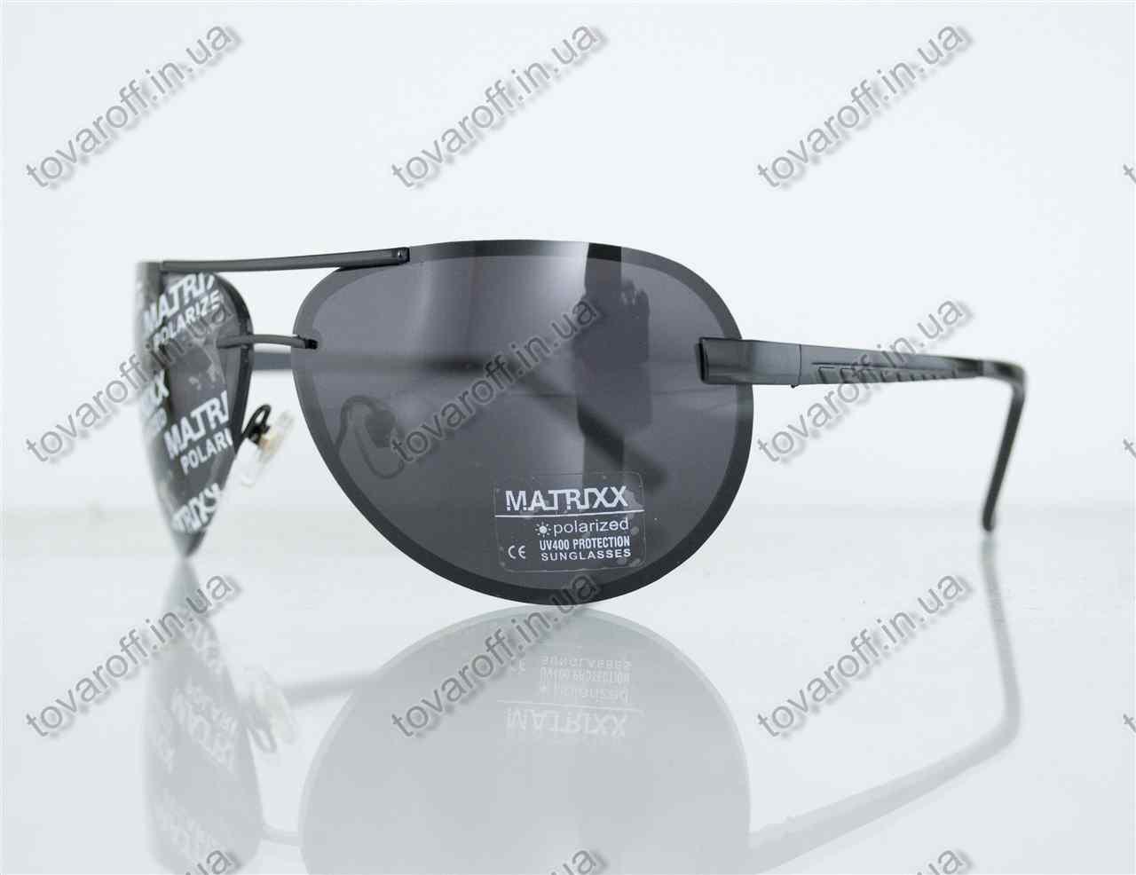 Оптом очки унисекс сонцезащитные поляризационные Авиатор (Aviator) - Черные - P08211