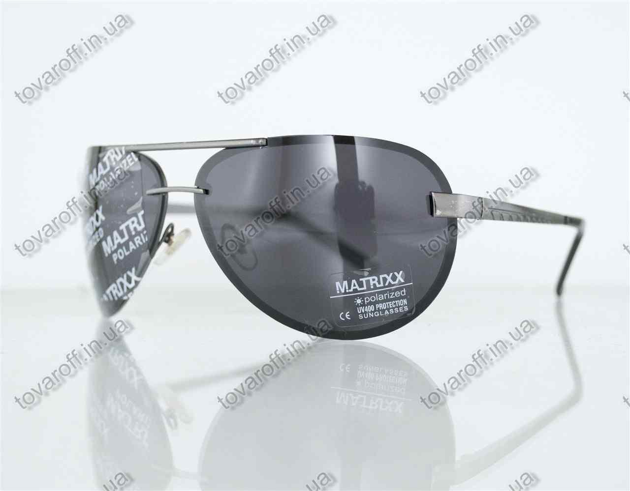 Оптом окуляри унісекс сонцезахисні поляризаційні Авіатор (Aviator) - Сталеві - P08211