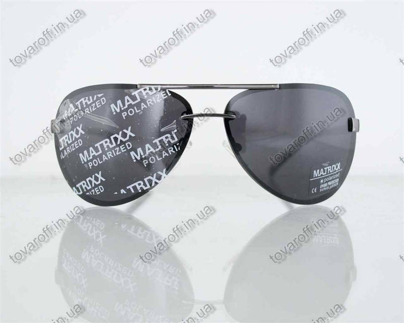 Оптом окуляри унісекс сонцезахисні поляризаційні Авіатор (Aviator) - Сталеві - P08211, фото 2
