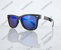 Очки унисекс солнцезащитные Вайфарер (Wayfarer) - Черные с синими зеркальными линзами - 0801, фото 1