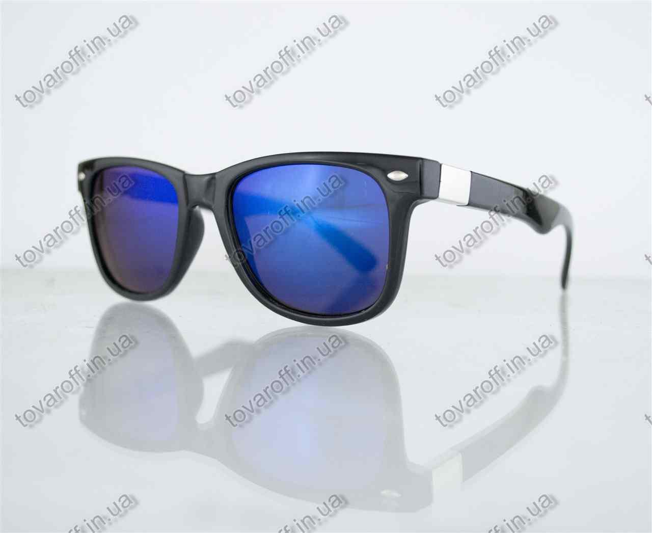 Оптом очки унисекс солнцезащитные Вайфарер (Wayfarer) - Черные с синими зеркальными линзами - 0801