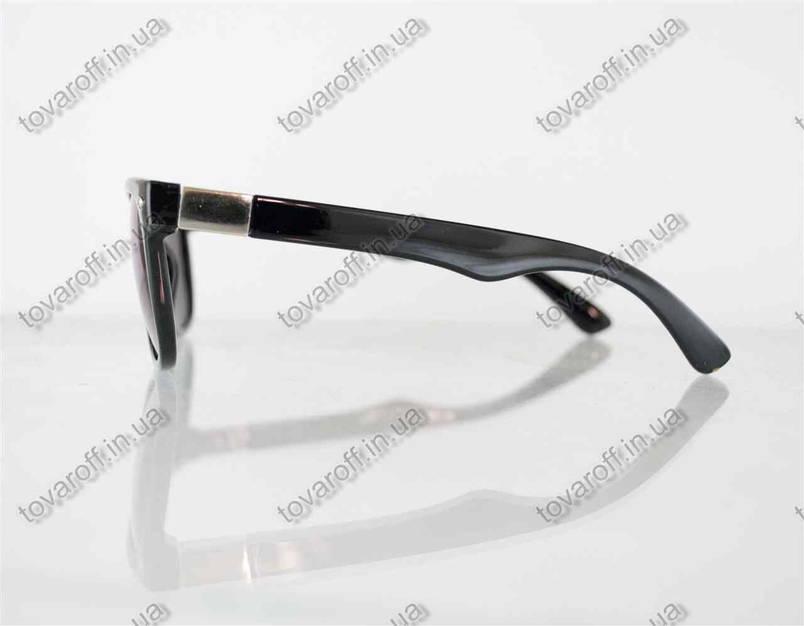 Оптом очки унисекс солнцезащитные Вайфарер (Wayfarer) - Черные с синими зеркальными линзами - 0801, фото 2