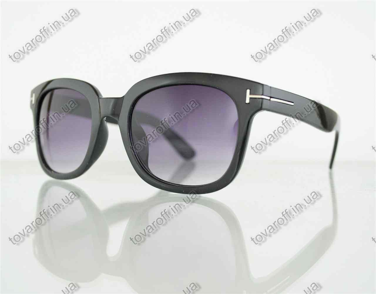 Оптом очки унисекс солнцезащитные в стиле Вайфарер (Wayfarer) - Черные - 54082
