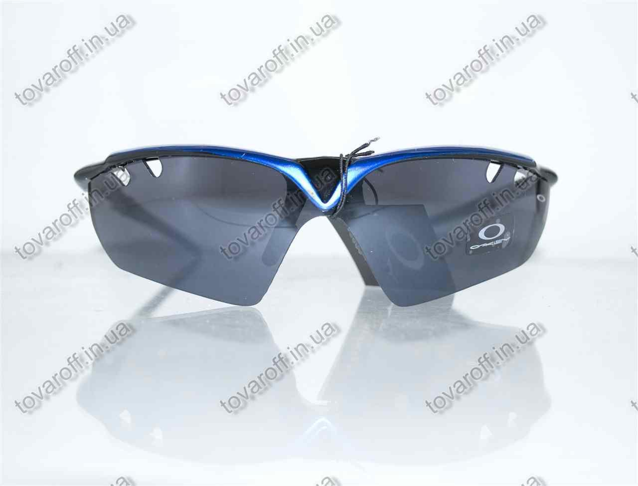 Оптом очки мужские солнцезащитные спортивные Oakley (Окли) - Черно-синие - 9135