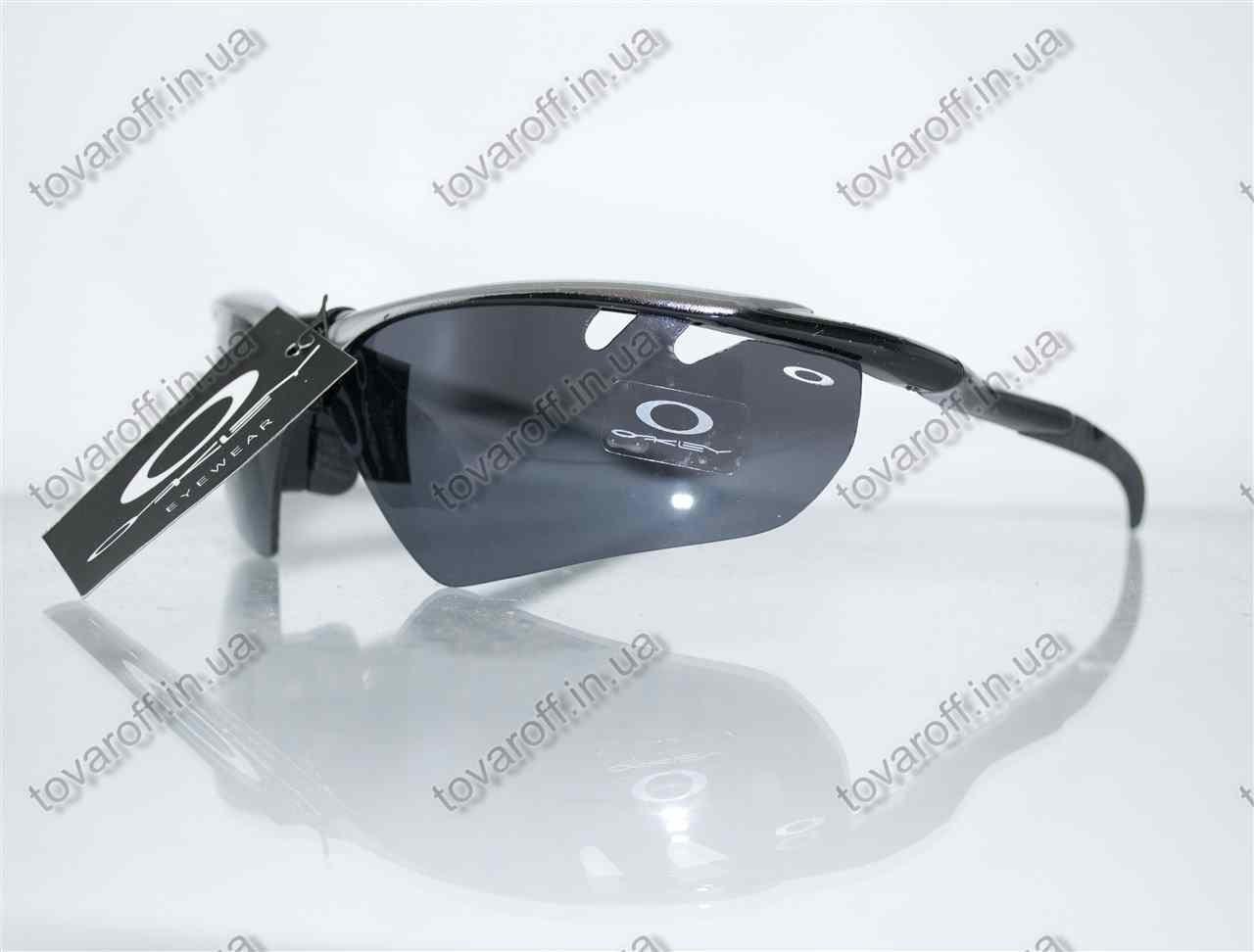 Оптом очки мужские солнцезащитные спортивные Oakley (Окли) - Черно-серые - 9134