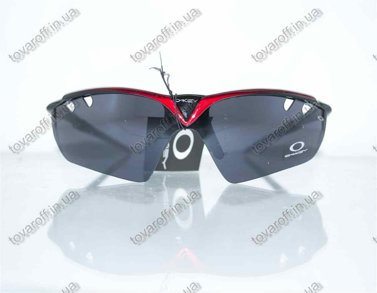 Оптом очки мужские солнцезащитные спортивные Oakley (Окли) - Черно-красные - 9136