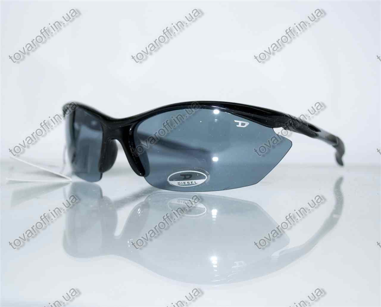 Очки мужские солнцезащитные спортивные Diesel (Дизель) - Черные - 5816