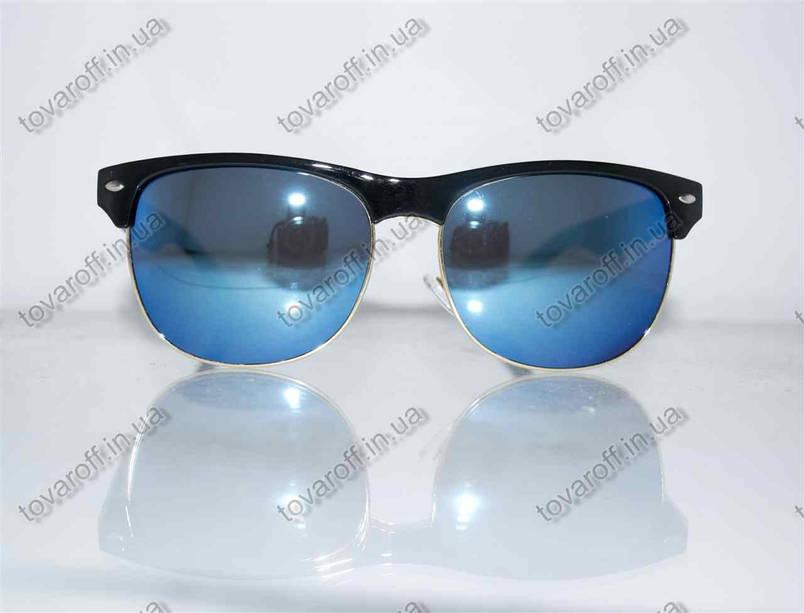 Окуляри унісекс сонцезахисні Вайфарер (Wayfarer) - Чорні з синіми дзеркальними лінзами - 4175, фото 2