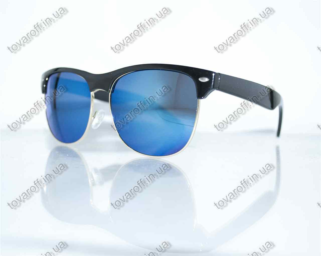 Оптом очки унисекс солнцезащитные Вайфарер (Wayfarer) - Черные с синими зеркальными линзами - 4175