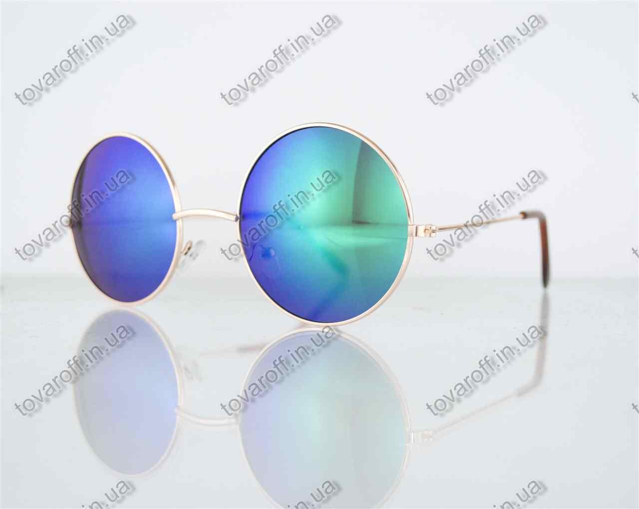 Оптом очки унисекс солнцезащитные круглые - Золотые с зелеными зеркальными линзами - 3014