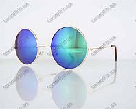 Оптом очки унисекс солнцезащитные круглые - Золотые с зелеными зеркальными линзами - 3014, фото 1