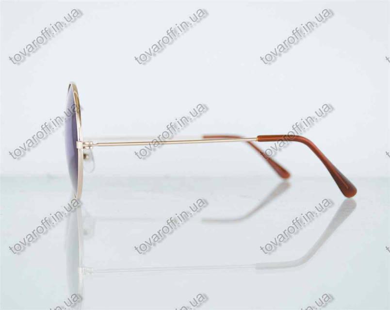 Оптом очки унисекс солнцезащитные круглые - Золотые с зелеными зеркальными линзами - 3014, фото 2
