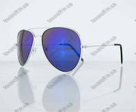 Очки унисекс солнцезащитные Aviator (Авиатор) зеркальные - Серебряные - 3010, фото 1