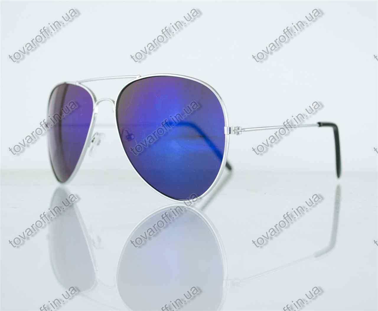 Оптом очки унисекс солнцезащитные Aviator (Авиатор) зеркальные - Серебряные - 3010