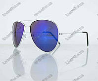 Оптом очки унисекс солнцезащитные Aviator (Авиатор) зеркальные - Серебряные - 3010, фото 1