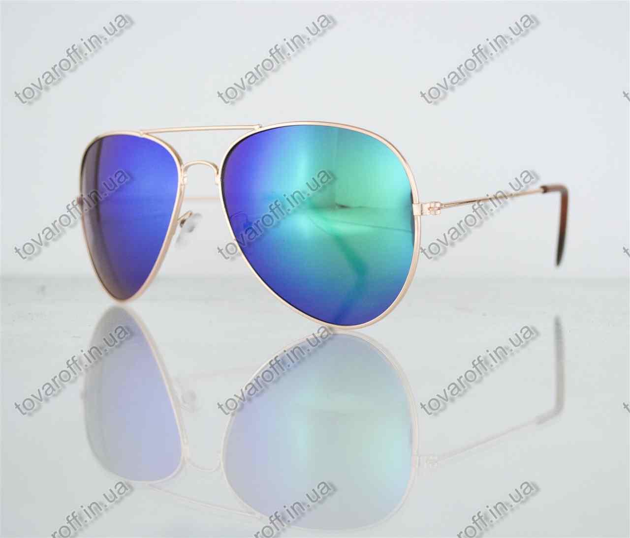 Оптом очки унисекс солнцезащитные Aviator (Авиатор) зеркальные - Золотые - 3010