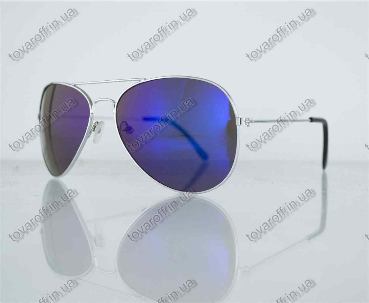 Оптом очки унисекс солнцезащитные Aviator (Авиатор) зеркальные - Серебряные - 3008