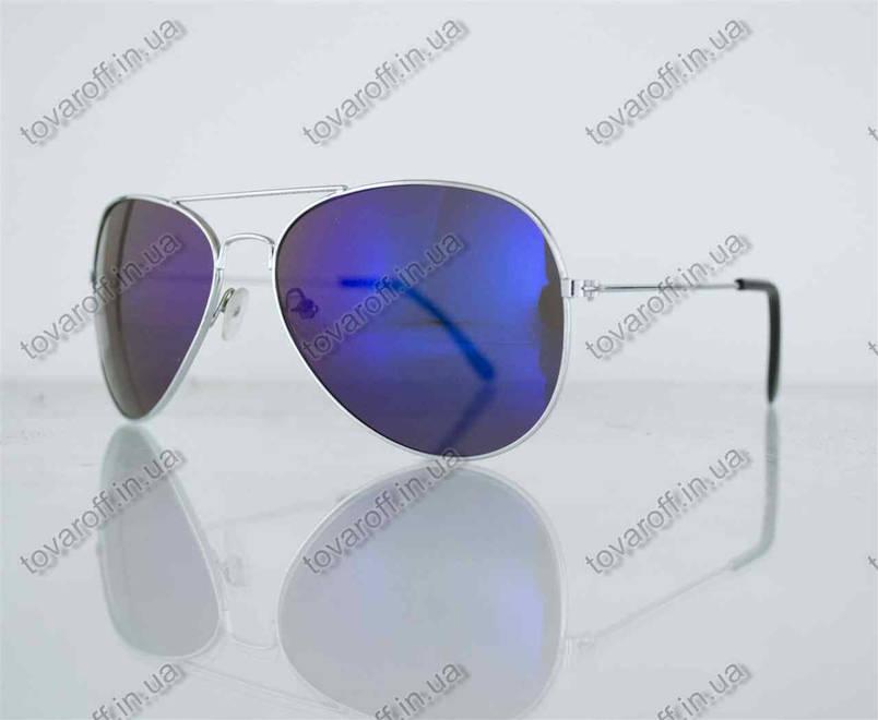 Оптом окуляри унісекс сонцезахисні Aviator (Авіатор) дзеркальні - Срібні - 3008, фото 2
