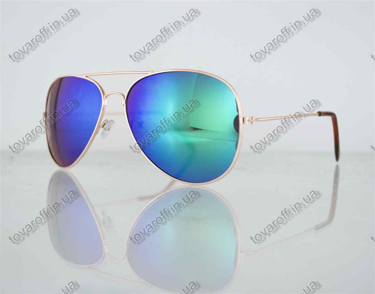Оптом очки унисекс солнцезащитные Aviator (Авиатор) зеркальные - Золотые - 3008