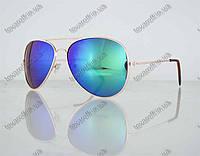 Оптом очки унисекс солнцезащитные Aviator (Авиатор) зеркальные - Золотые - 3008, фото 1