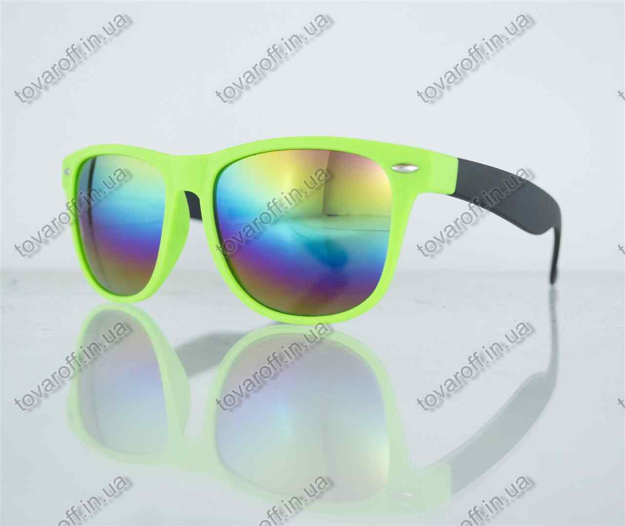 Очки унисекс солнцезащитные Вайфарер (Wayfarer) с зеркальными линзами - Салатово-черные - 2623