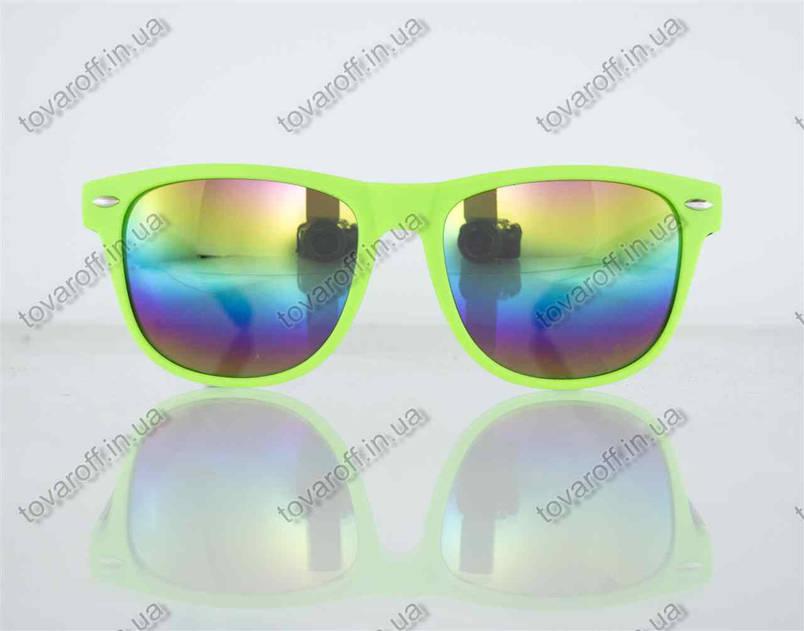 Очки унисекс солнцезащитные Вайфарер (Wayfarer) с зеркальными линзами - Салатово-черные - 2623, фото 2