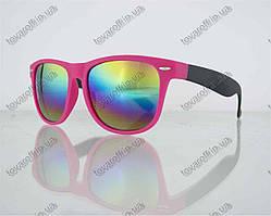 Очки унисекс солнцезащитные Вайфарер (Wayfarer) с зеркальными линзами - Розово-черные - 2623